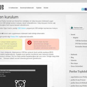 Pardus resmi sitesinde ben ve USBAktarıcı