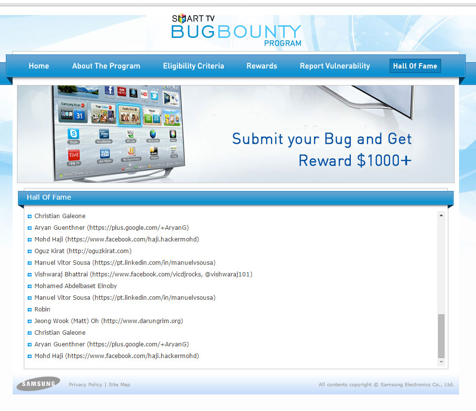 Samsung Smart TV Bug Bounty Onur Listesi